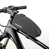 ROCKBROS Bolsa Cuadro Bicicleta Impermeable Capacidad 1L/1,6L Bolsa Manillar Tubo Superior para MTB Bicicleta Carretera, Negro
