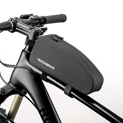 ROCKBROS Bolsa Cuadro de Manillar Tubo Superior Impermeable Capacidad 1L/1,6L para Bicicletas MTB Bici de Carretera Bici Plegable Negro