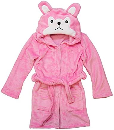 Hooded Fleece Toddler Robe Pink Wolf product image
