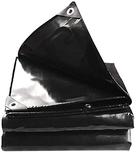 WZX Verdickte Außenplane Regenschutz Sonnenschutz Schwarz Bühnenplane Push-Pull-Schuppenstoff PVC-Stoff 600G / ㎡(Size:4×5m)