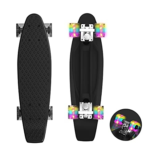 Hiboy 22   Complete Skateboards Mini Cruiser with Colorful LED Light Up Wheels for Kids Boys Youths, Black