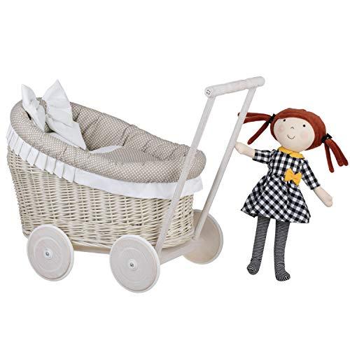 e-wicker24 - Lettino per bambole in vimini, giocattolo in salice, carrozzina in vimini + BAMBOLA