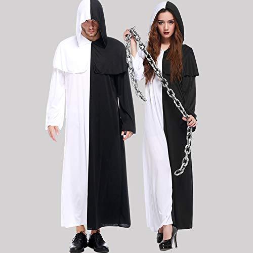 Hombre Disfraz Halloween Adulto Carnaval Cosplay Parejas, Fantasmas, Blanco y Negro, Impermanencia