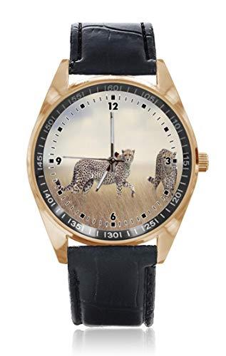 Armbanduhr mit echtem Gepard und Katze, personalisierbar, für Herren und Damen, wasserdicht, Edelstahl, Quarz-Armbanduhr mit austauschbarem Lederband