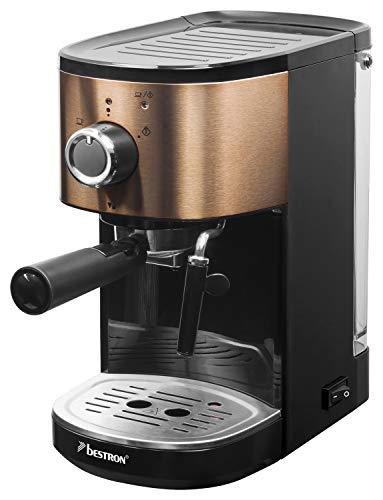 Bestron Espressomaschine für 2 Tassen, Mit schwenkbarer Dampfdüse, 15 bar, 1.250/1.450 W, Edelstahl in Kupfer-Optik