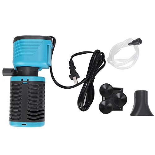 Hffheer Aquarium-filter, 3-in-1 aquarium waterpomp luchtpomp dauch luchtreiniger water schoon filter systeem 220-240 V CN stekker met adapter, 1