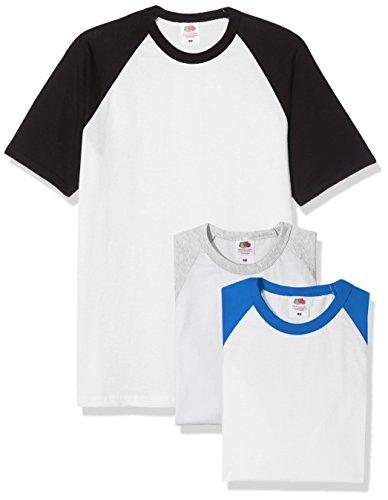 Fruit of the Loom Baseball Classic Short Sleeve Camiseta, Blanco Negro/Blanco Royal Azul/Blanco Heather Grey, M (Pack de 3) para Hombre