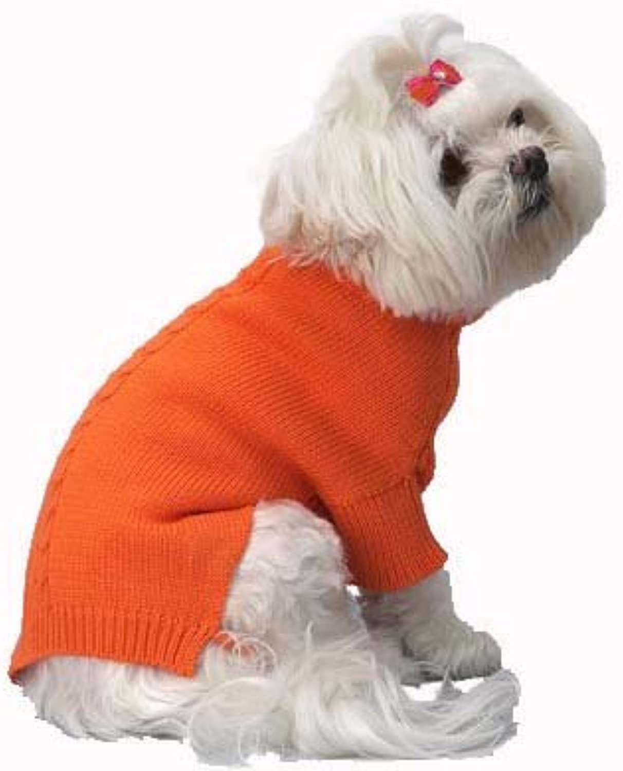 A Pets World 0715370710 Mercerized Cotton Roll Neck Cable orange Citrus Dog Sweater