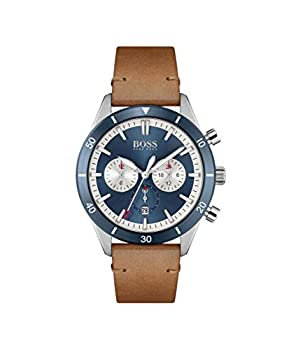HUGO Men s Stainless Steel Quartz Watch with Leather Strap Brown 22  Model  1513860