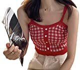 Women Girls Plaid Crop Camisole Buttons Knitted Vest Sleeveless Cute Tank Tops Vintage Y2K Summer Streetwear Red