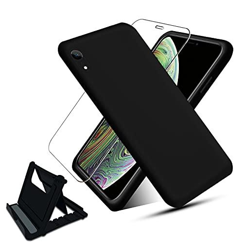 NUDGE Funda para iPhone XR(6.1 ) con [Vidrio Templado HD+Soporte Teléfono],Estuche Silicona Líquida, Carcasa a Prueba de Golpes con Forro de Microfibra -Negro