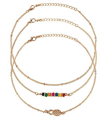 SIX 3er Set Fußkettechen im Layering Look mit bunten Perlen und Ananas Anhänger, in rosé- Gold (775-324)