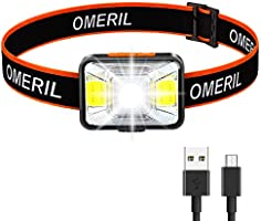 LED Head Torch,OMERIL USB Rechargeable Headlamp with Super Bright 200 Lumens,5 Lighting Modes,White&Red Light,IPX5...