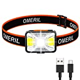 OMERIL Linterna Frontal LED USB Recargable, Linterna Cabeza