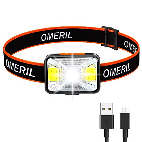 OMERIL Linterna Frontal LED USB Recargable, Linterna Cabeza Super brillante, 5 Modos...