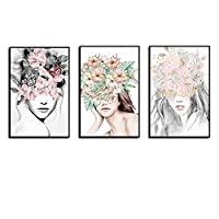 Nordic Minimalist Abstract Flower Girl Canvas Painting Art Print Poster Female Figure Picture Wall Living Room Home Decor 50x70cmx3 Unframed gifts
