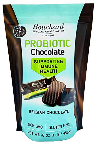 Bouchard Probiotic Belgian Chocolate  Dark 72% Cacao  Supporting Immune Health  20% Larger Pieces 6g