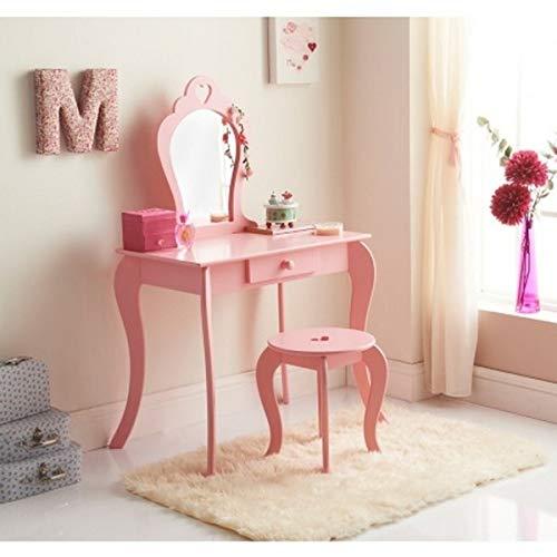 Amelia toalettbordsset med pall och spegel: möbel till barnens sovrum/toalettbord - rosa