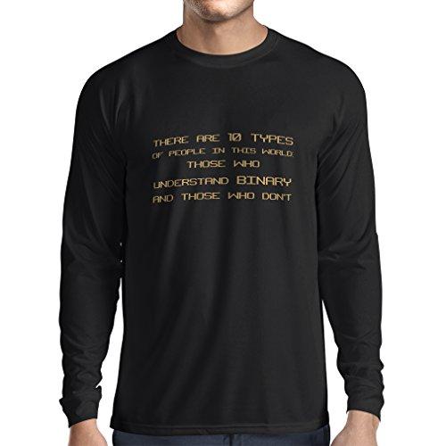 lepni.me Camiseta de Manga Larga para Hombre Tipos de Personas Que Entienden el código Binario, Chistes de programadores (L Azul Oro)