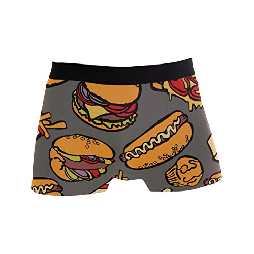 MONTOJ Cool Food Party Hamburgers Pizza Hot Dog Herren Boxershorts, Stretch-Hose Gr. X-Large, 1