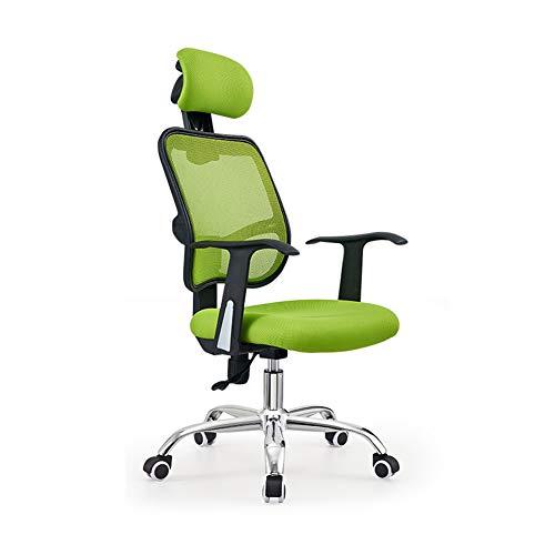 Silla de oficina ergonómica, silla de escritorio, silla de oficina, silla de oficina, silla de oficina, silla de trabajo, silla de sillón, silla giratoria, patas de acero, reposabrazos fijos, Material:, verde, talla