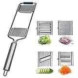 Mehrzweck-Gemüseschneider, 4-in-1 Langen Griff Handheld Gemüsehobel mit 4 Austauschbaren Edelstahl Klingen Karottenreibe Küchenzubehör (Silber)