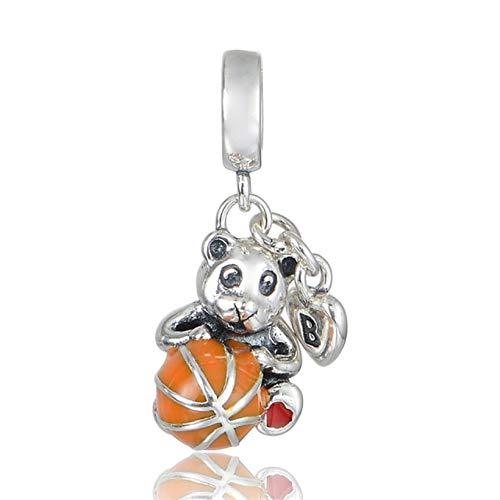 EVESCITY - Oso de Baloncesto de edición Limitada con abalorio de Plata de Ley 925 esmaltado Naranja para Pulseras de Abalorios joyería para Ella
