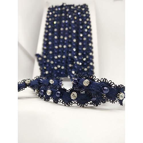 TOMASELLI MERCERIA 50 cm elastische sprei strass zilver parels blauw hoogte 1 cm