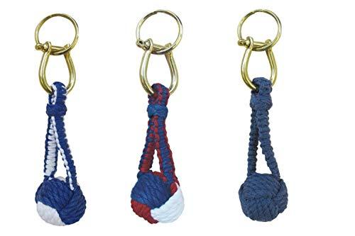magicaldeco 3X Schlüsselanhänger- Knoten,Seefahrt mit Schäkel/Schlüsselring- Baumwolle, Messing- verschiedenfarben