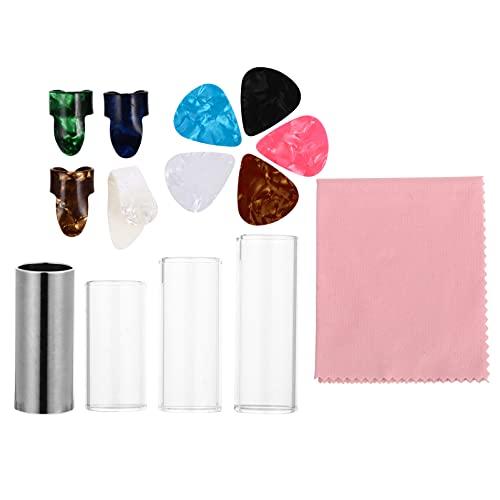 Generic 1 Set Professionele Gitaar Accessoires Kit Inclusief 4 Gitaar Slides (1 Metaal Zilver en 3 Stuks Glas), 4 Vinger Covers, 5 Plastic Duim & Vinger Picks 1 Reinigingsdoek in Metalen Doos