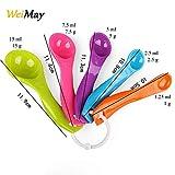 Weima - Set di 5 cucchiai dosatori in plastica colorata, diverse misure, utensili da cucin...
