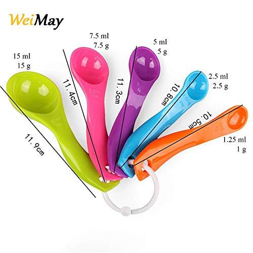 WeiMa - Juego de 5 cucharas medidoras de plástico, multicolor, para cocina, utensilios de cocina, diferentes tamaños (color aleatorio)
