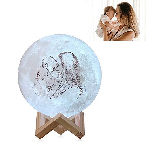 Lámpara de luna de foto personalizada - Lámpara de luna personalizada Boceto impreso 16 colores Luz de noche de luna Personalizar texto de foto Lámpara de luna Lámpara de luna decorativa