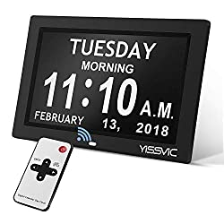 "YISSVIC Day Clock 9"" Digital Calendar Clock with Remote Optional Digital Photo Frame Function with 12 Alarms 8 memos 5 Adjustable Brightness 9 Languages Non-Abbreviated Day Date Week Display"