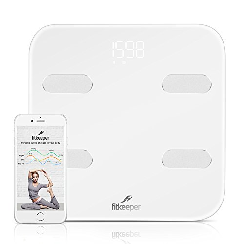 Fitkeeper Smart Body Scale, Body Fat Scale, Bluetooth Digital High Accuracy Body Fat Weight Bathroom Scale Wireless Body Composition Analyzer Monitor Body Analysis Scale with iOS, Android App