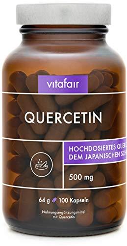 VITAFAIR Quercetin (500mg pro Tagesdosis) - Vegan, Braunglas, Ohne Zusätze, German Quality - Hochdosiert aus Japanischem Schnurbaum-Blütenextrakt - 100 Kapseln