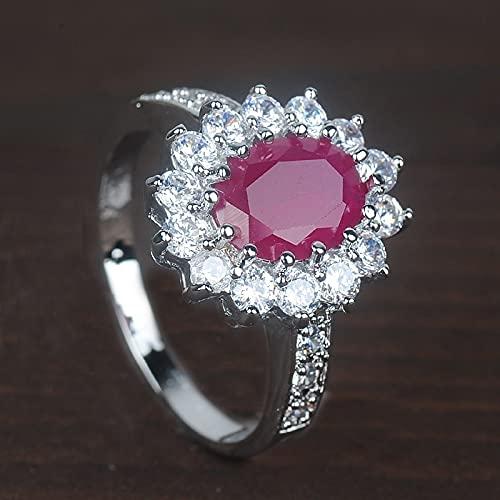 JIUXIAO Joyería de Moda para Mujer, Anillo de Dedo de circonita de Corte Ovalado Rosa, Anillos de Novia de Compromiso de Boda, tamaño 6 78 910
