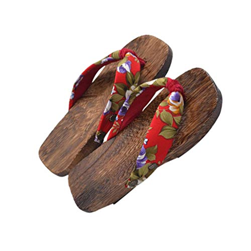 HEALLILY Wooden Flip Flops Sandals Slippers Shoes Japanese Style Wood Geta Sandals for Children Size 16-22 Red