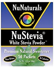 NuNaturals NuStevia White Stevia Powder Packets 50 ea