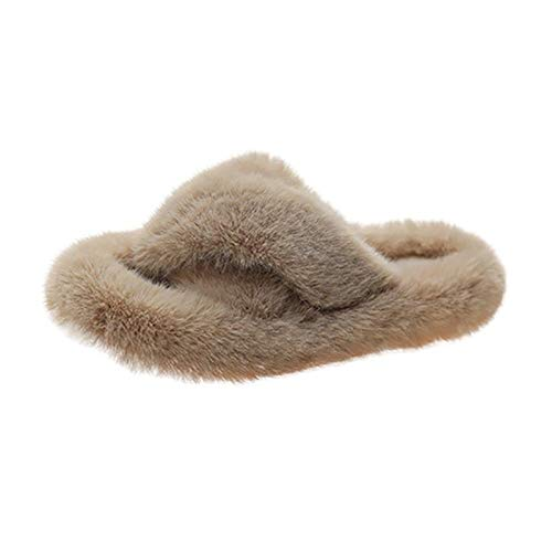 HUSHUI Foam House Shoes With Warm Faux Collar,Thick bottom soft hairy slippers, flat leisure cotton-Beige_5,Foam Slippers for Women Comfortable Warm