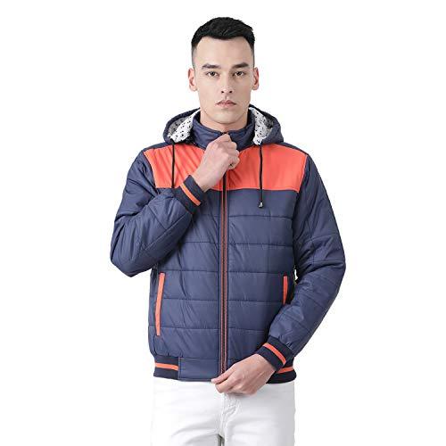 CLOAK & DECKER Solid Blue Coloured Cotton Blend Hood Jacket