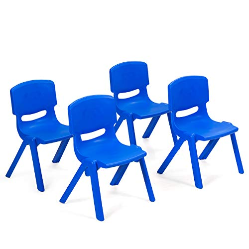 Costzon Plastic Stackable School Chairs, 4 Pack, Kids Learning Chairs with 11 inch Seat Height, Carrying Handle, Waterproof Children Chairs for Playrooms, Schools, Daycares and Home (4 Pack, Blue)