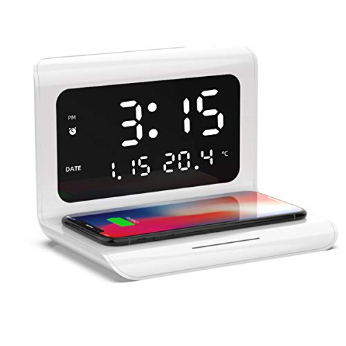 Syfinee Wireless Charger Alarm Clock - Multifunctional Wireless Charging Station Compatible with iPhone Android Type-C Despertador Cargador Inalámbrico