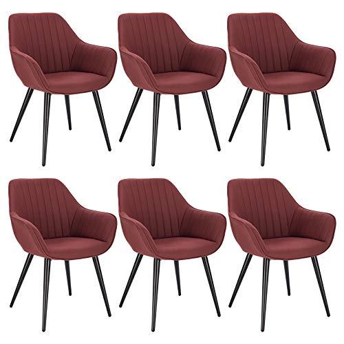 WOLTU 6X Sillas de Comedor Sillas de Cocina Dining Chairs Juego de 6 Sillas Tapizada Salón con Reposabrazos Sillas Tela con Respaldo Patas de Metal Silla de Oficina Burdeos BH256bd-6
