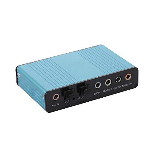 QKP Externer Soundkarten-Kanal 5.1/7.1 USB 2.0 Optischer Audio-Soundadapter Für PC-Laptop (blau)