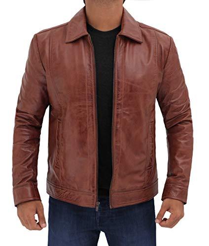 fjackets Waxed Brown Mens Leather Jacket - Distressed Lambskin Genuine Leather Jackets Men   [1100375], John Wiiick XL