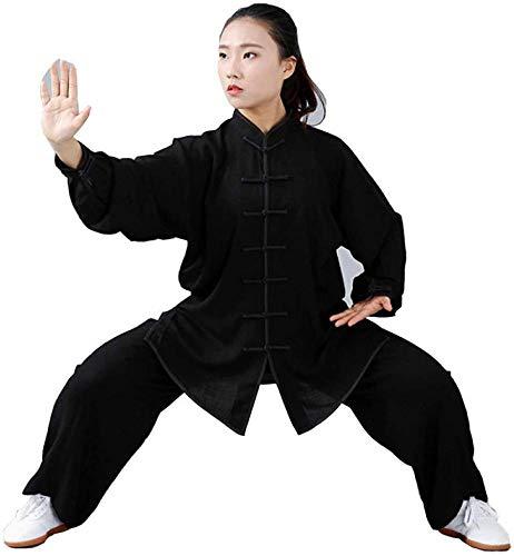 Tai Chi Anzug Chinesische Kung Fu Kleidung Chinesische Traditionelle Tai Chi Uniformen Kung Fu Kleidung Kampfkunst Kleidung Taekwondo Trainingstücher Anzug Yoga Unisex Baumwolle + Leinen Anzug,Black-S