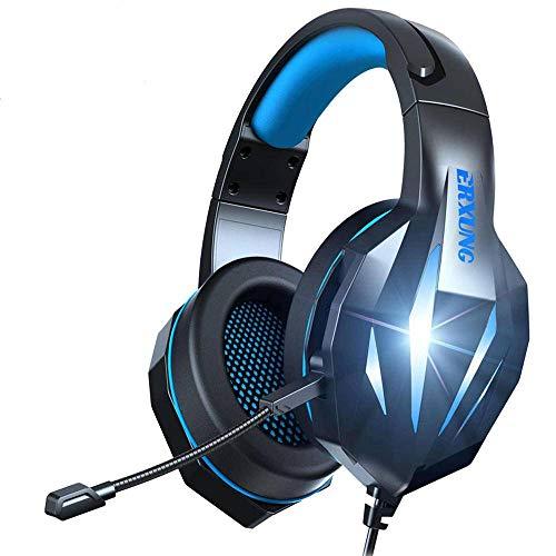 N-B Auriculares para juegos con micrófono con cancelación de ruido y cable de 3,5 mm Jack en línea con luz LED PS4 Gaming Auriculares estéreo Surround Professional Headset