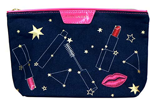Estee Lauder Cosmetics Makeup Travel Bag •• (Zodiac/Horoscope Collection ≈ Navy Blue & Hot Pink) ••