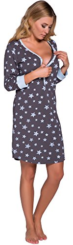 Italian Fashion IF Damen Nachthemd Comet 0111 (Blau/Graphite, L)